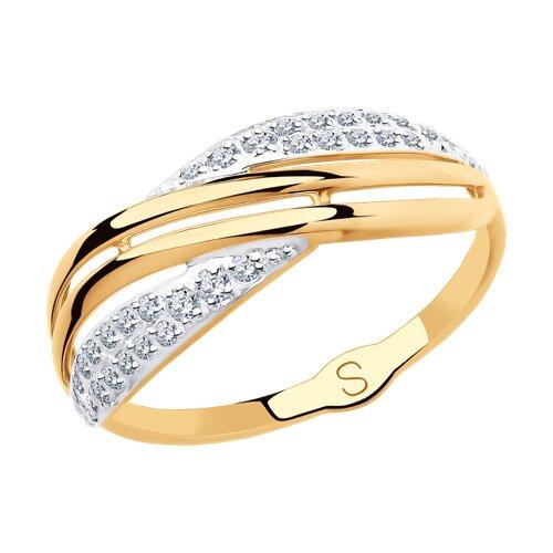 Кольцо из золота с фианитами (018124) - фото