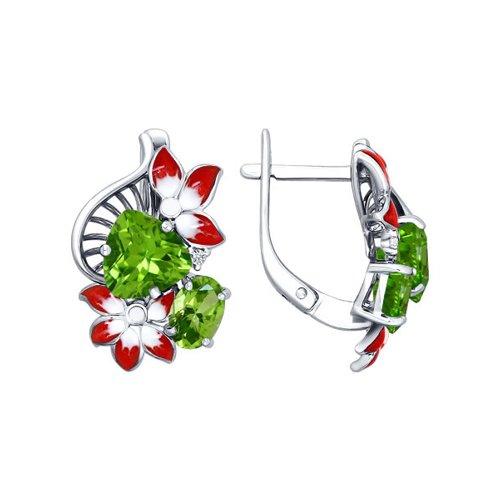 Серьги SOKOLOV из серебра с эмалью с фианитами и хризолитами серьги серебряный цветок с эмалью и хризолитами sokolov