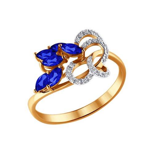 Кольцо SOKOLOV из красного золота с бриллиантами и сапфирами кольцо цветы с 6 бриллиантами из красного золота