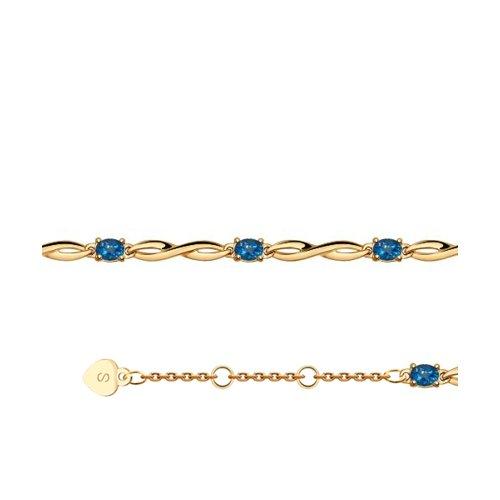 Браслет из золота с синими топазами (750319) - фото
