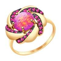 Кольцо из золота с опалом и красными фианитами