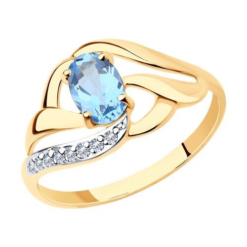 Кольцо из золота с голубым топазом и фианитами (714646) - фото