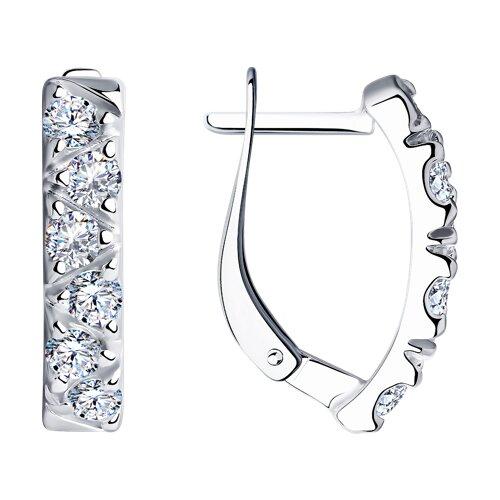 Серьги из серебра с фианитами (94022567) - фото