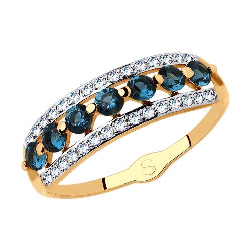 Кольцо из золота с фианитами (018084) - фото