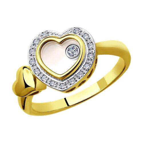 Кольцо из комбинированного золота с миксом камней (1011655-2) - фото