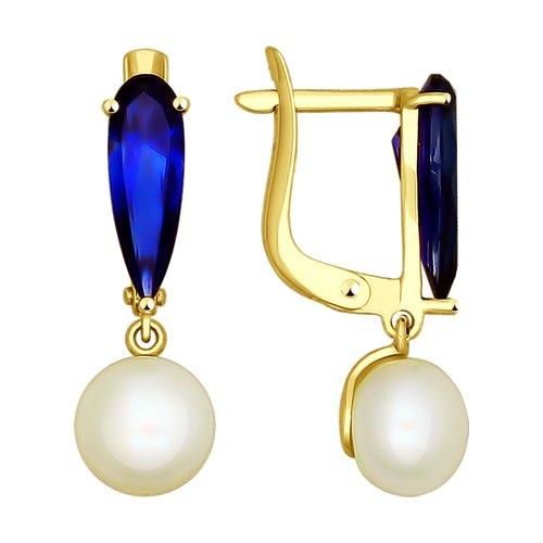 Серьги из желтого золота с жемчугом и синими корунд (синт.) (792054-2) - фото