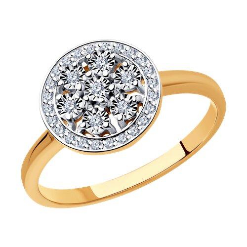 Кольцо из комбинированного золота с бриллиантами (1011939) - фото