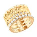 Кольцо из золочёного серебра с эмалью и жемчугом Swarovski и фианитами