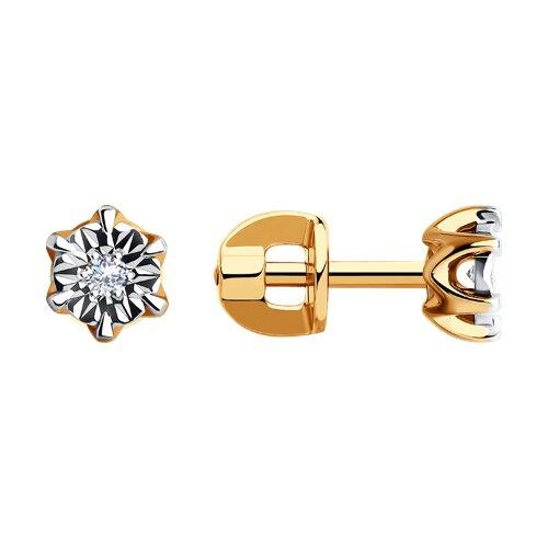 Серьги из комбинированного золота с бриллиантами (1021118) - фото