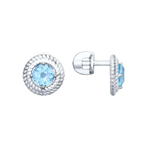 Серьги-гвоздики из серебра с топазами (92021704) - фото