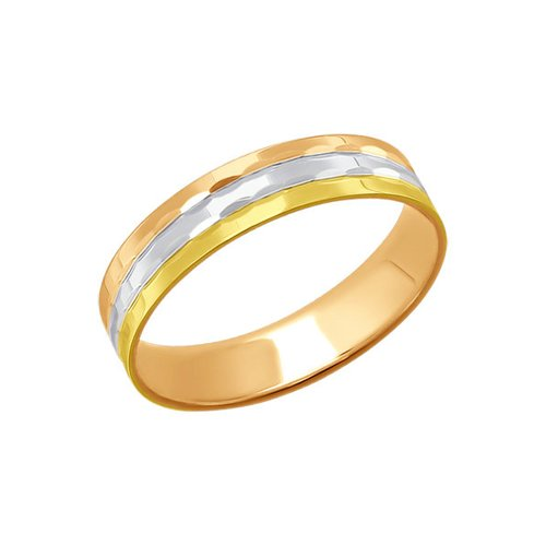 Обручальное кольцо из комбинированного золота с алмазной гранью (110161) - фото