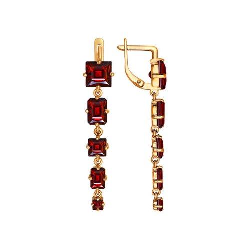 Фото - Серьги длинные SOKOLOV из золота с гранатами серьги длинные sokolov из золота cо swarovski zirkonia