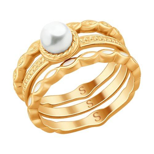 Кольцо из золочёного серебра с эмалью и жемчугом (93010757) - фото