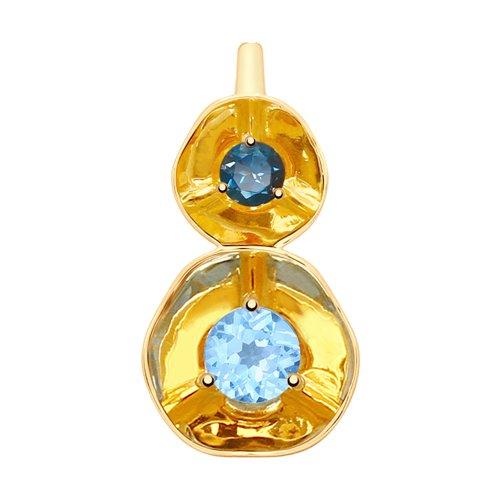 Подвеска из золота с голубым и синим топазами