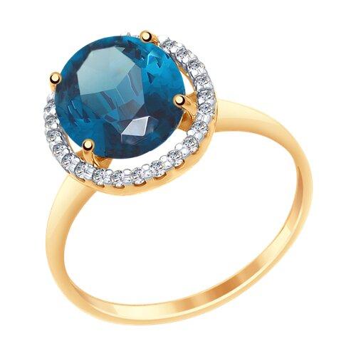 Кольцо из золота с синим топазом и фианитами (37714968) - фото