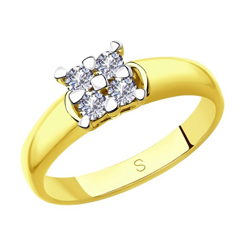 Кольцо из желтого золота с бриллиантами (1011846-2) - фото