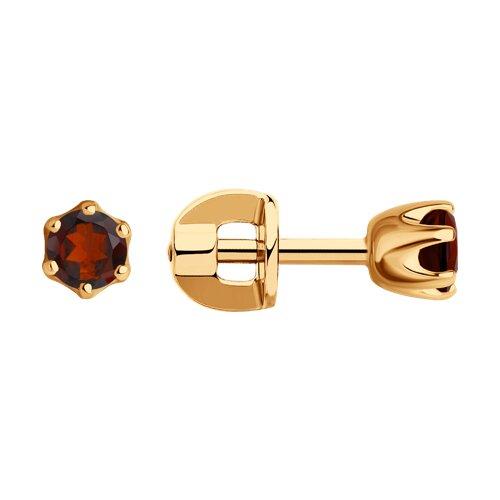 Серьги-пусеты из золота с гранатами