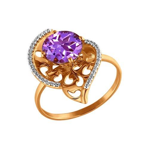 Золотое кольцо с аметистом круглой огранки и фианитами SOKOLOV золотое кольцо ювелирное изделие 01k623290