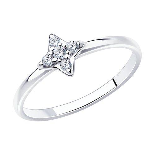 Кольцо из серебра с фианитами (94012668) - фото