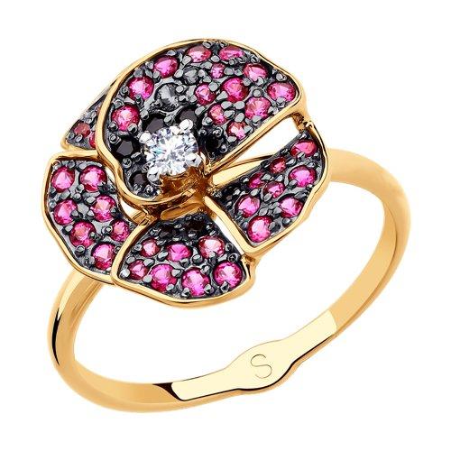 Кольцо из золота с фианитами 018138 SOKOLOV фото
