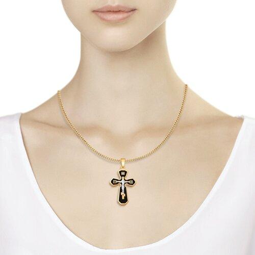 Золотой крестик с эмалью и бриллиантом