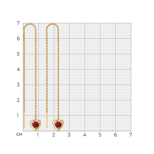 Серьги из золота с красными фианитами (027602) - фото №2