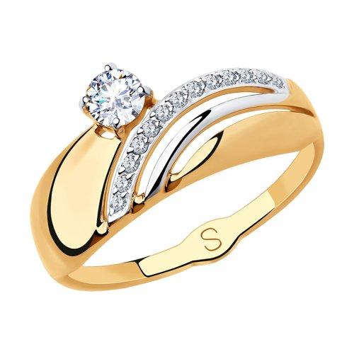 Кольцо из золота с фианитами (018207) - фото