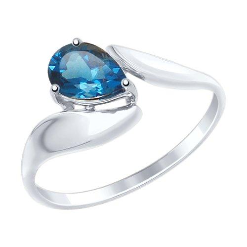 Кольцо из белого золота с синим топазом