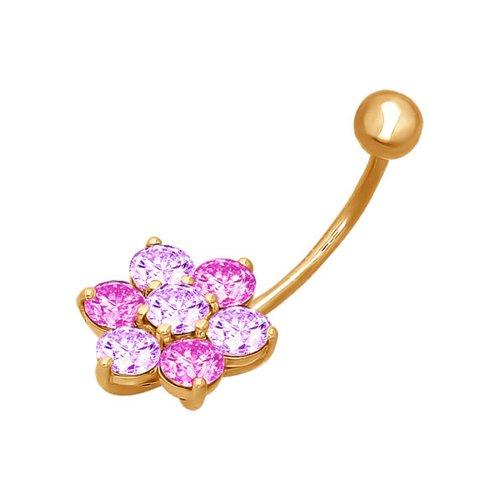 Пирсинг в пупок из золота с сиреневыми и розовыми фианитами