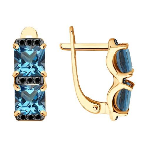 Серьги из золота с синими топазами и фианитами (725348) - фото