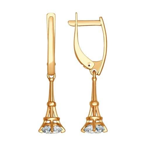 Серьги длинные из золота с фианитами (027187) - фото