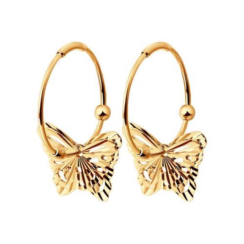 Золотые серьги конго с бабочками SOKOLOV яркие золотые серьги с бабочкой sokolov