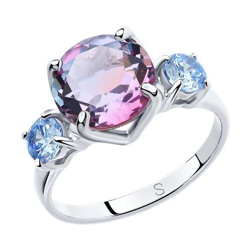 Кольцо из серебра с ситаллом и фианитами (92011718) - фото