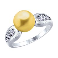 Кольцо из серебра с жемчугом Swarovski и фианитами