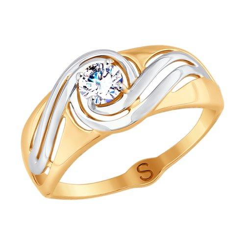 Кольцо из золота с фианитом (017727) - фото
