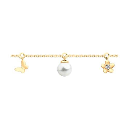 Браслет из золота с жемчугом и фианитом (795023) - фото