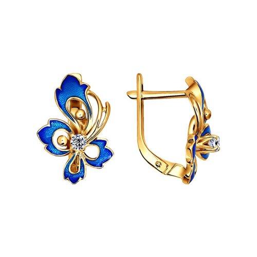 Женские серьги золото с эмалью