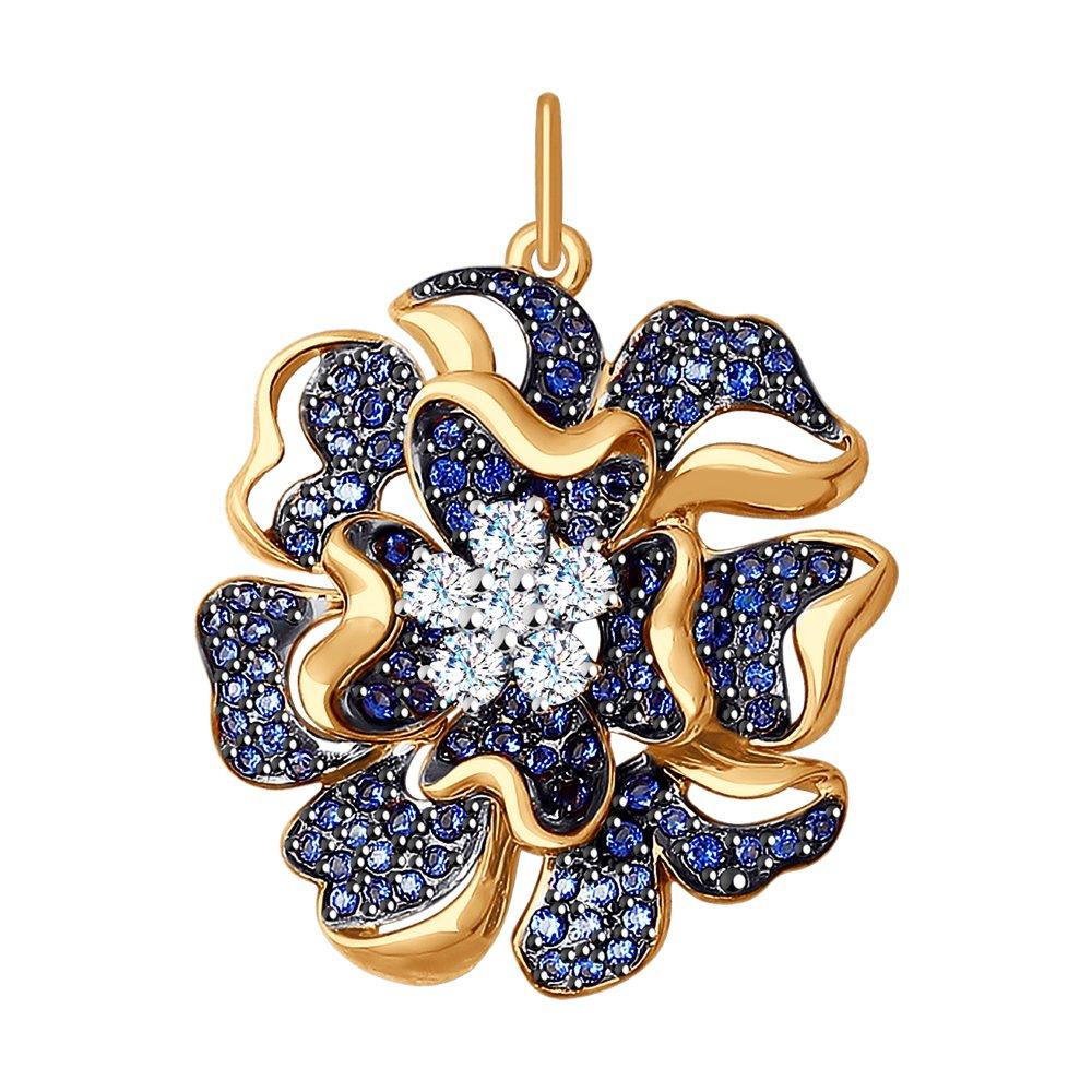 Подвеска SOKOLOV из комбинированного золота с бесцветными и синими фианитами подвеска из комбинированного золота с бесцветными и синими фианитами