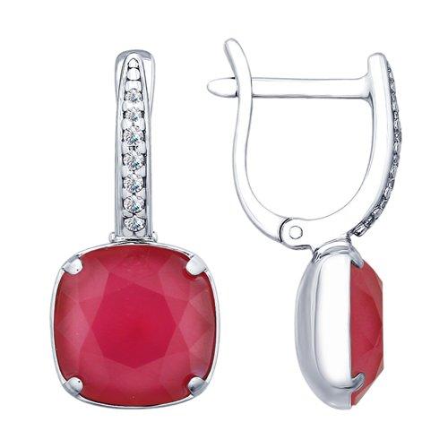 Серьги из серебра с розовыми кристаллами Swarovski и фианитами