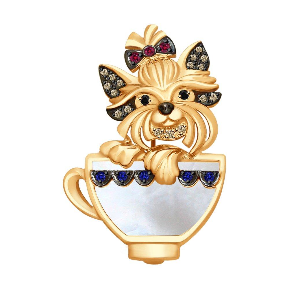 Золотая брошь «Собачка» SOKOLOV