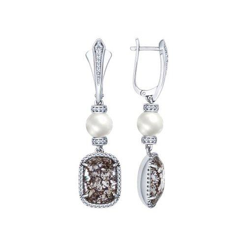 Серьги с жемчугом и кристаллами Swarovski  (94022147) - фото