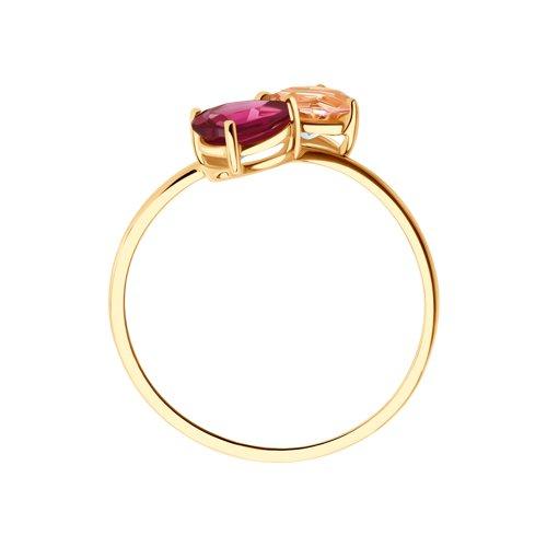 Кольцо из золота с родолитом и синтетическим ситалом 716102 SOKOLOV фото 3