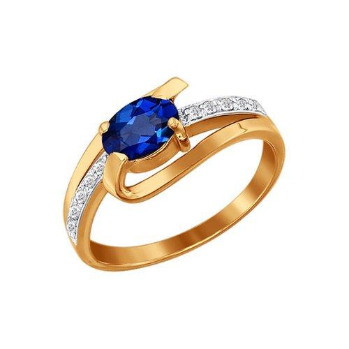 Кольцо из золота с бриллиантами и сапфиром (2010430) - фото