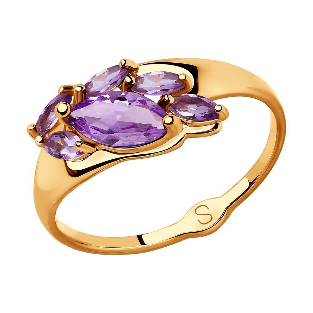Кольцо SOKOLOV из золота с аметистами ювелирное кольцо sokolov