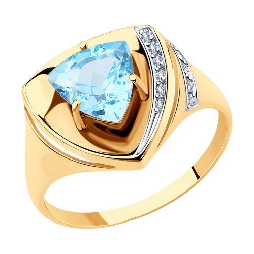 Кольцо из золота с топазом и фианитами (715258) - фото