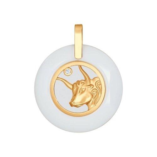 Керамическая подвеска «Знак зодиака Телец» из золота